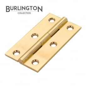 63 x 35mm Polished Brass Butt Hinge